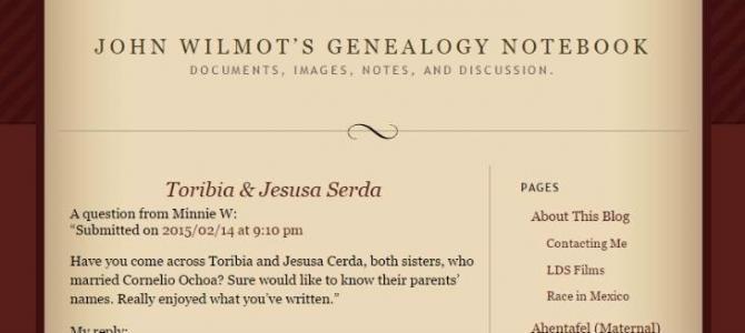John Wilmot's Genealogy Notebook
