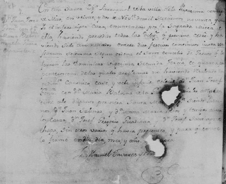 1791 Marriage of Juan Jose Mateo Gonzalez and Maria Balvina de la Garza