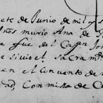 Ana de Benavides, 1677 Church Death Record, Monterrey, Nuevo Leon, Mexico