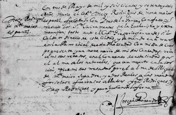 1676 Death Record of Diego Rodriguez