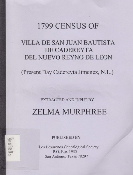 1799 Census of Villa de San Juan