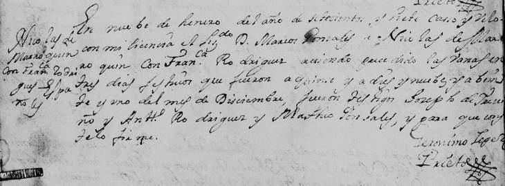 1707 Marriage of Nicolas de Marroquin and Francisca Rodriguez