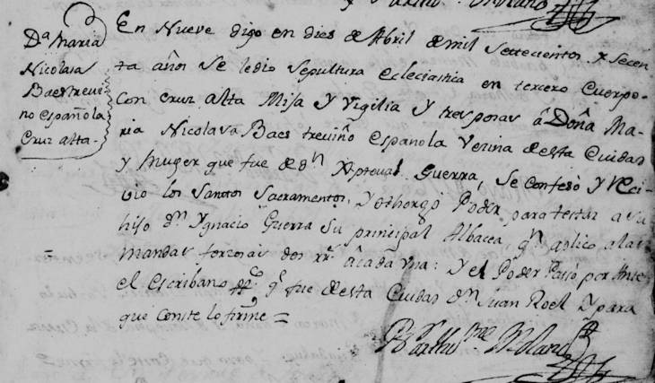 Death Record of Nicolas Baes de Trevino