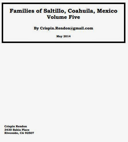 Families of Saltillo, Coahuila, Mexico Volume Five
