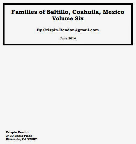 Families of Saltillo, Coahuila, Mexico Volume Six