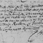 1675 Marriage of Gabriel Cervera and Maria Longoria in Monterrey, Nuevo Leon, Mexico