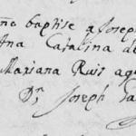 1723 Baptism of Jose Antonio Cavazos in Monterrey, Nuevo Leon, Mexico