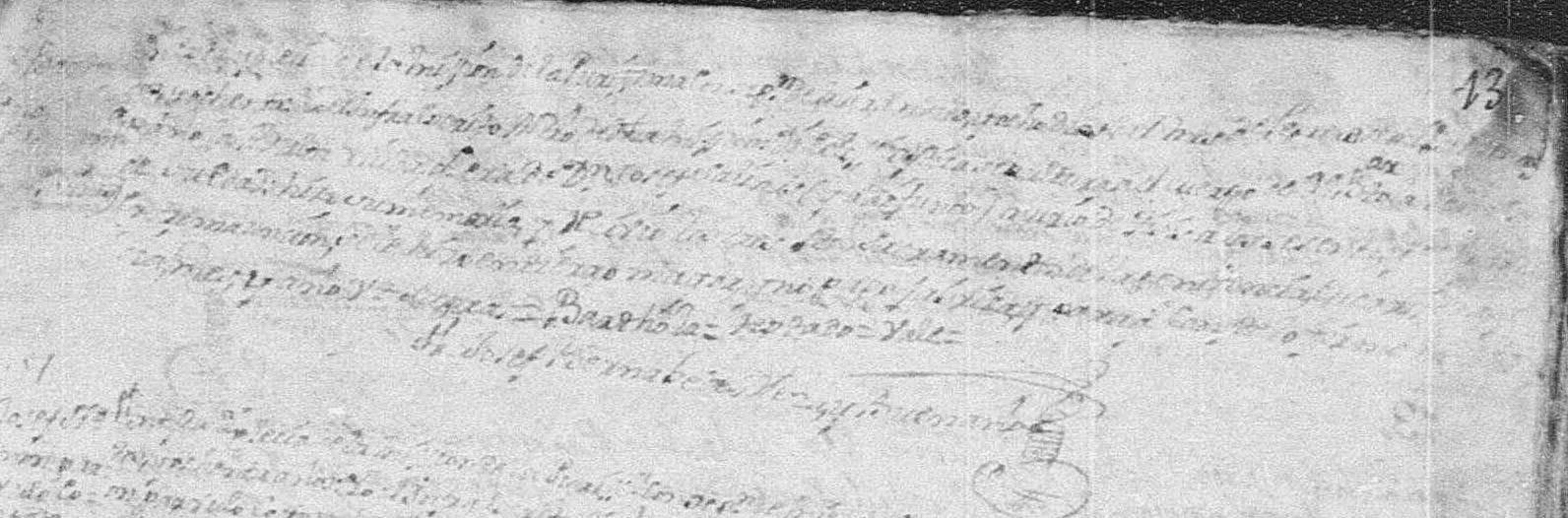 1780 Church Death Record of Maria Bartola Pena in Mier, Tamaulipas, Mexico