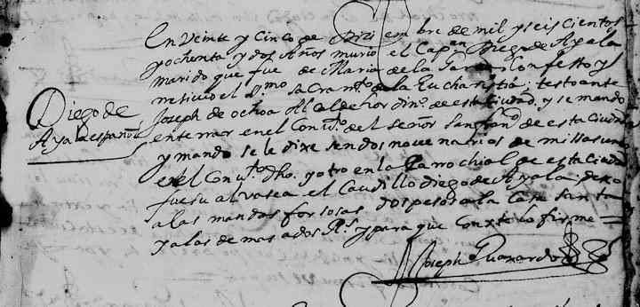 1682 Church Death Record of Diego de Ayala in Monterrey, Nuevo Leon, Mexico