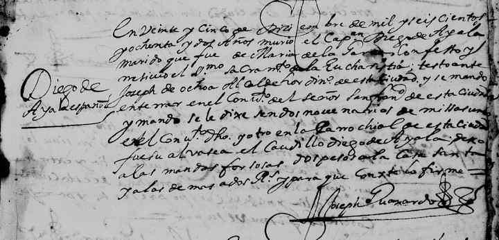 1682 Church Death Record of Diego de Ayala in Monterrey, Nuevo Leon, Mexico