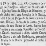 1694 Marriage Dispensation Extract of Diego Hinojosa Cantu and Josepha de la Garza Diaz, Sagrada Mitra de Guadalajara
