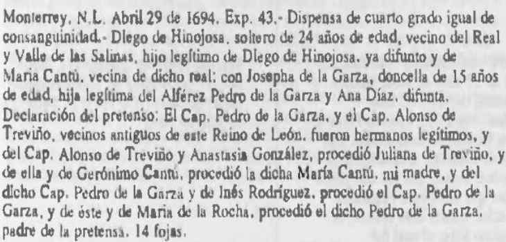 1694 Marriage Dispensation Extract of Diego Hinojosa Cantu and Josepha de la Garza Diaz, Sagrada Mitra de Guadalajara