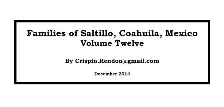 Families of Saltillo, Coahuila, Mexico Volume Twelve