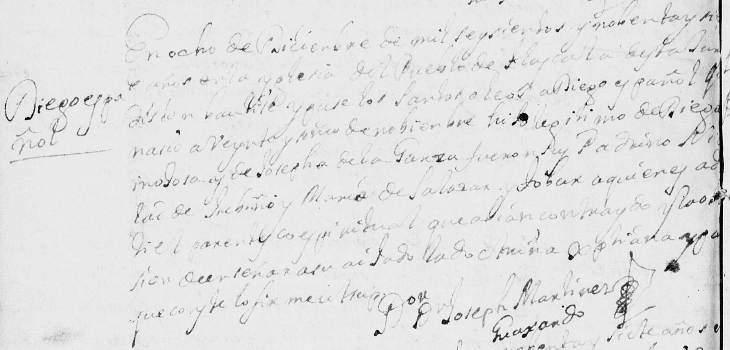 1697 Baptism of  Diego de Hinojosa in Monterrey, Nuevo Leon, Mexico