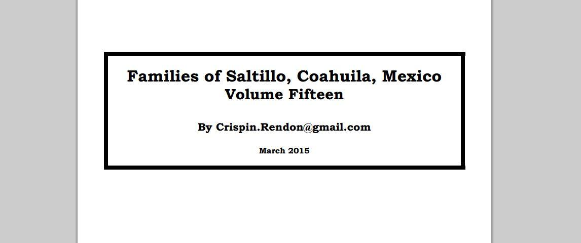 Families of Saltillo Coahuila Volume Fifteen by Crispin Rendon