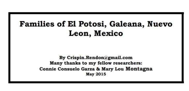 Families of El Potosi, Galeana, Nuevo Leon, Mexico