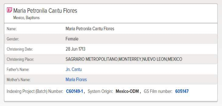 Maria Petronila Cantu Flores FamilySearch Baptism Index Result