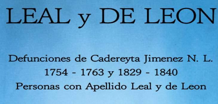 Defunciones De Cadereyta Jimenez N.L 1754-1763 y 1829-1840