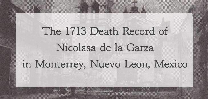 1713 Church Death Record of Nicolasa de la Garza in Monterrey, Nuevo Leon, Mexico