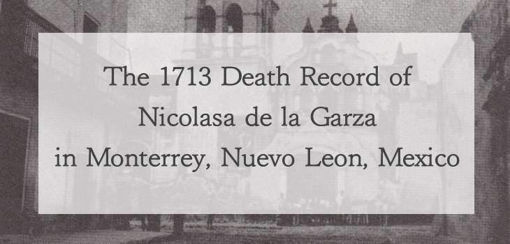 1713 Church Death Record of Nicolasa de la Garza in Monterrey, Nuevo Leon, Mexico