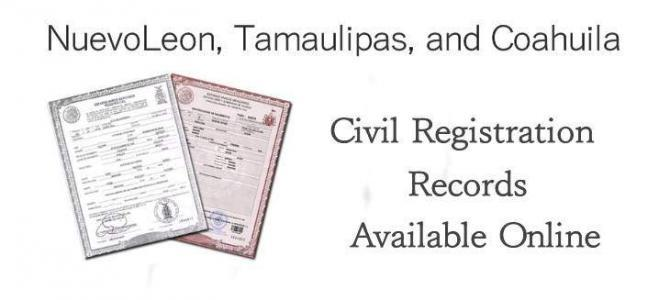 Nuevo Leon, Tamaulipas, and Coahuila Civil Registration Records