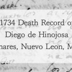 1734 Church Death Record of Diego de Hinojosa in Linares, Nuevo Leon, Mexico