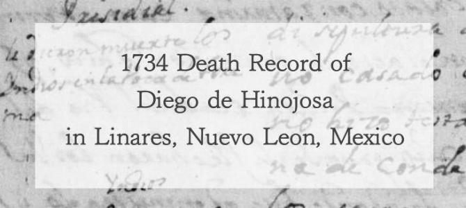 1734 Church Death Record of Diego de Hinojosa in Linares, Nuevo Leon, Mexico