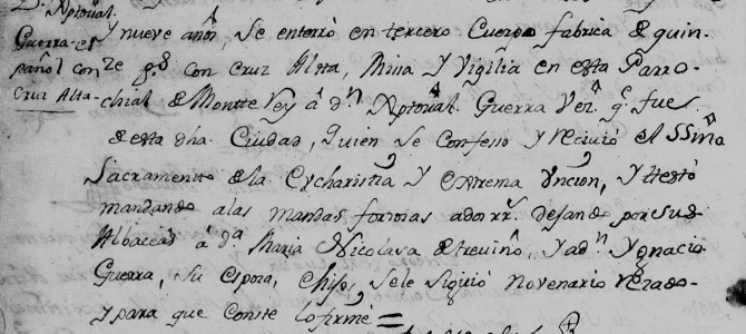 1759 Death Record of  Jose Cristobal Guerra Canamar in Monterrey, Nuevo Leon, Mexico