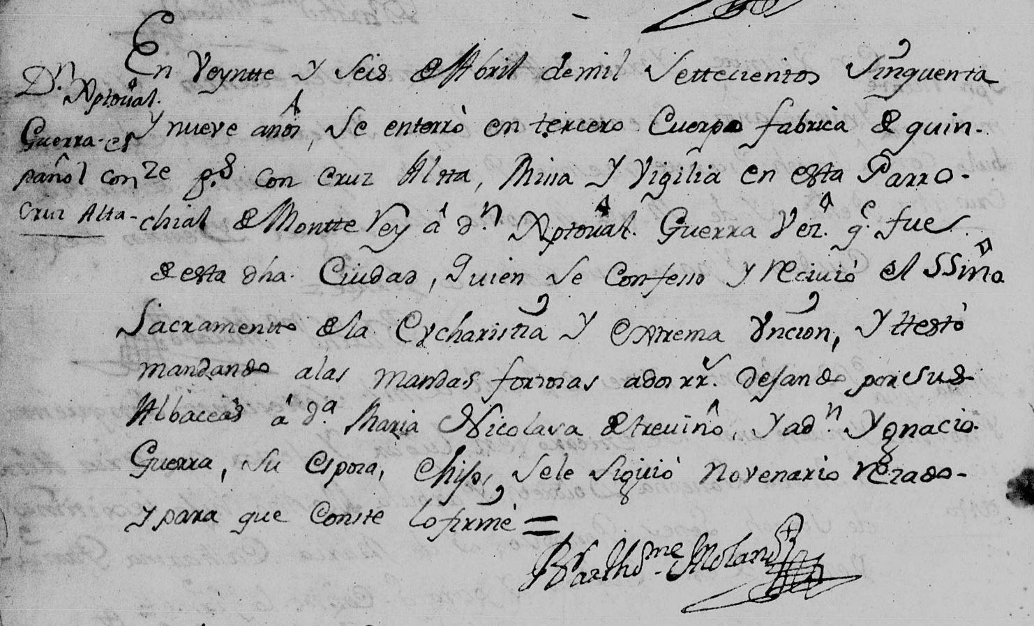 Cristobal Guerra Cañamar Death Record FamilySearch, Monterrey, N.L. Catherdral 1759 Pg. 72
