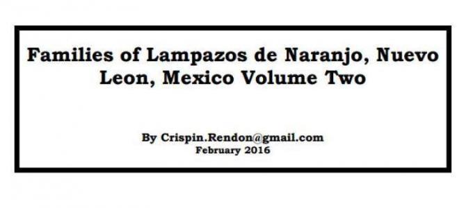 Families of Lampazos, Nuevo Leon, Mexico Volume Two
