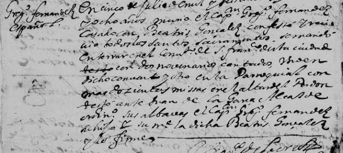 1668 Death Record of Gregorio Fernandez de Tijerina in Monterrey, Nuevo Leon, Mexico