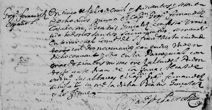 Gregorio Fernandez de Tijerina Death Record FamilySearch, Monteery, N.L. 1668 Pg6-700