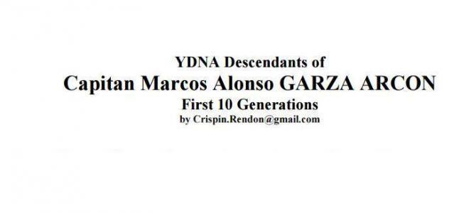 Y-DNA Descendants of Marcos Alonso Garza Arcon