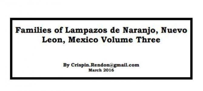 Families of Lampazos, Nuevo Leon, Mexico Volume Three