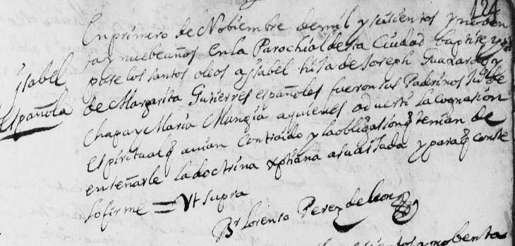 Maria Ysabel Juana Guajardo FamilySearch N.L. Monterrey Baptism 1699 Pg 176
