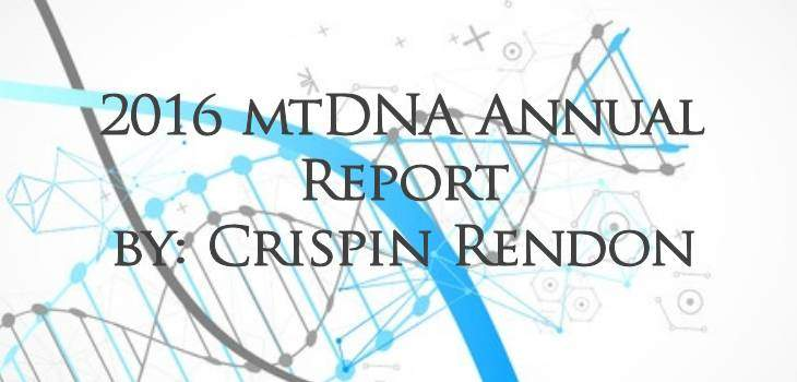 2016 mtDNA Annual Report by Crispin Rendon