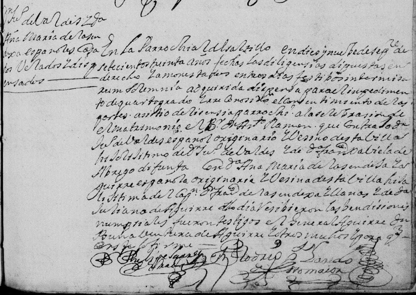 Juan Valdez Abrego and Ana Maria Sendeja Llanas FamilySearch, Saltillo, Coahuila, Mexico 1730 Pg. 180