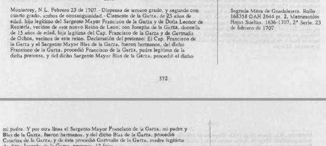 1707 Marriage Dispensation of Clemente de la Garza and Josefa Catalina de la Garza