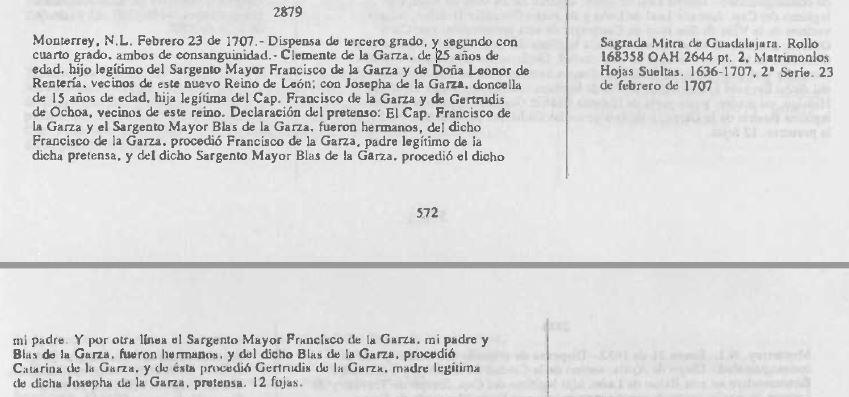 1707 Marriage Dispensation of Clemente de la Garza and Josefa de la Garza