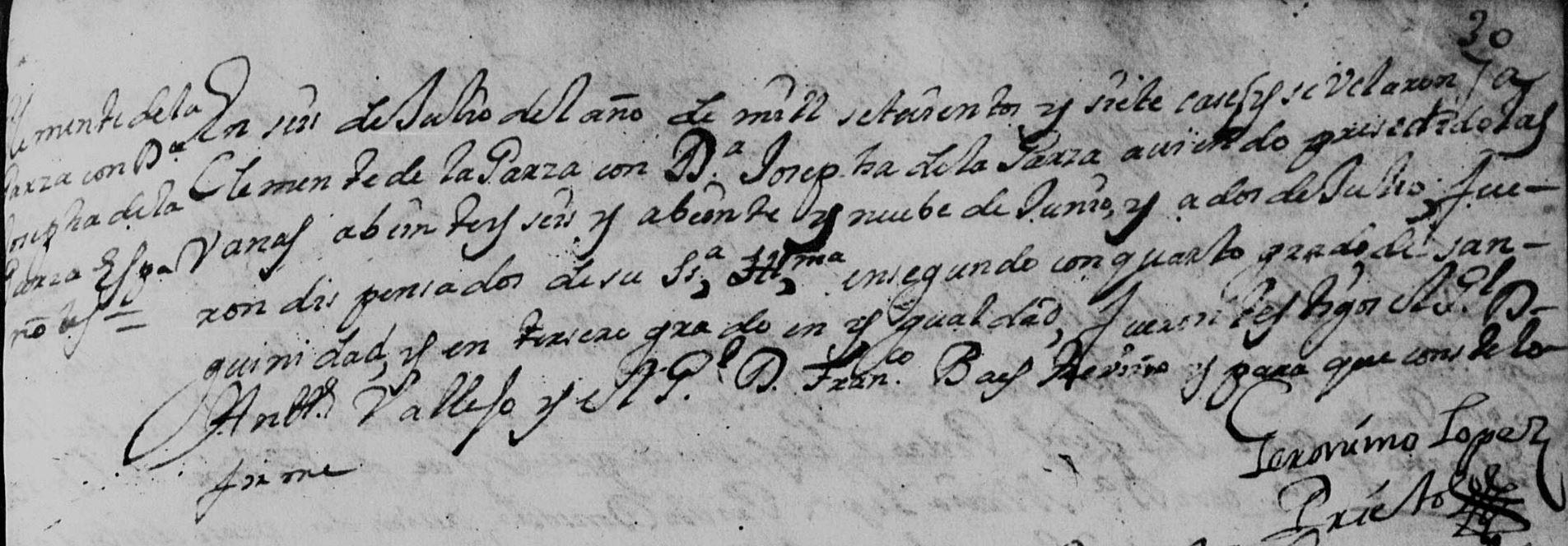 Clemente de la Garza and Josefa Catalina Garza FamilySearch Marriage Monterrey 1706 Pg. 78