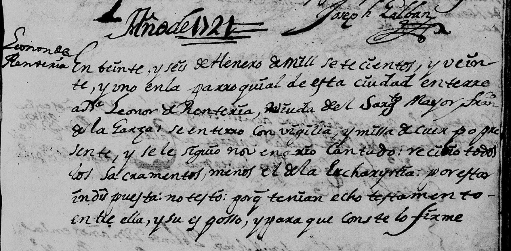 Death Record of Leonor de Renteria monterrey Nuevo Leon Mexico Pg 128