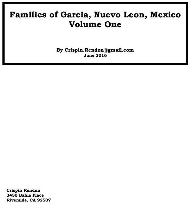 Families of Garcia, Nuevo Leon, Mexico Volume One