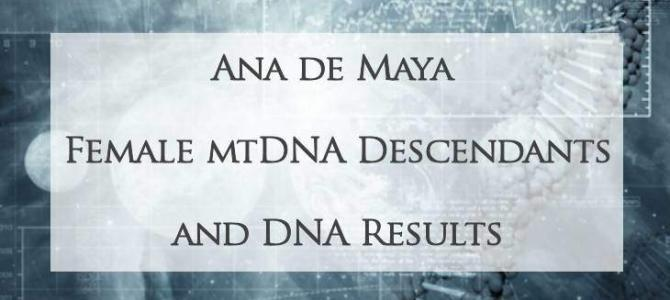 Female mtDNA Descendants of Ana de Maya