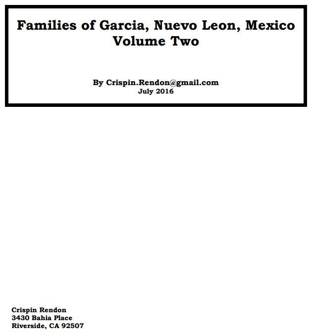 Families of Garcia Nuevo Leon Mexico Volume Two