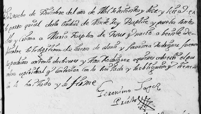 Maria Josepha Jesus de Alanis FamilySearch Monterrey Baptism 1716 Pg 368