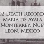 1702 Church Death Record of Maria de Ayala in Monterrey, Nuevo Leon, Mexico