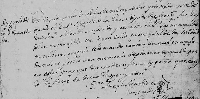 Miguel de la Garza Falcon death rcord FamilySearch Monterrey 1697 pg 64
