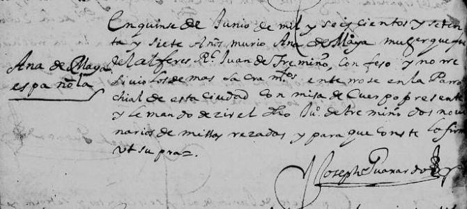 1677 Death Record of Ana de Maya in Monterrey Nuevo Leon, Mexico