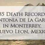 1735 Church Death Record of Antonia de la Garza in Monterrey, Nuevo Leon, Mexico