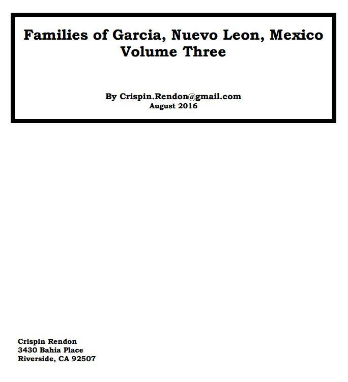 Families of Garcia Nuevo leon Volume three